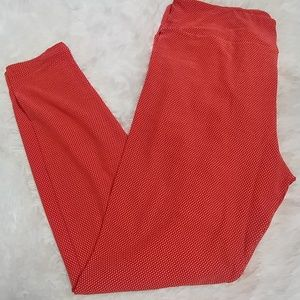 LuLaRoe Orange Polkadot Leggings TC 12-18